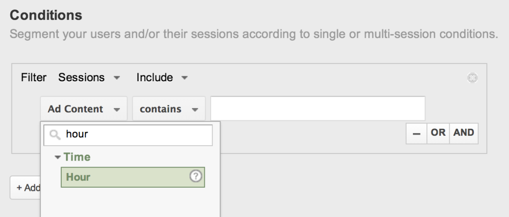 Use conditions to create these segments.
