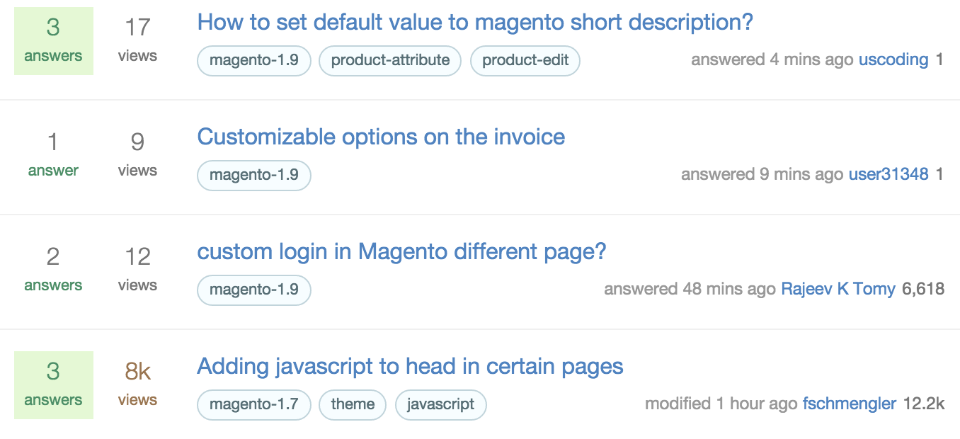Stackoverflow Magento Questions