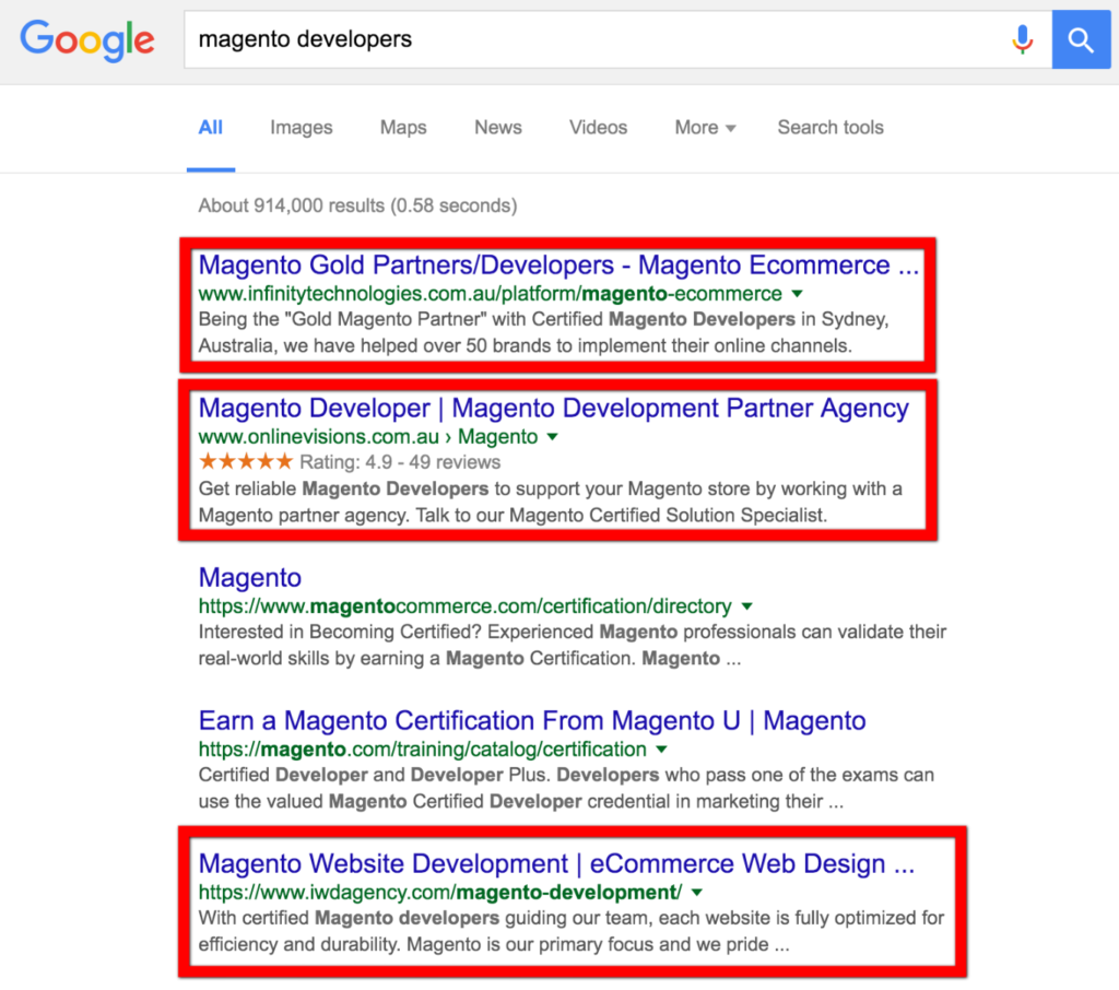 Development agencies usually dominate Google Search results.
