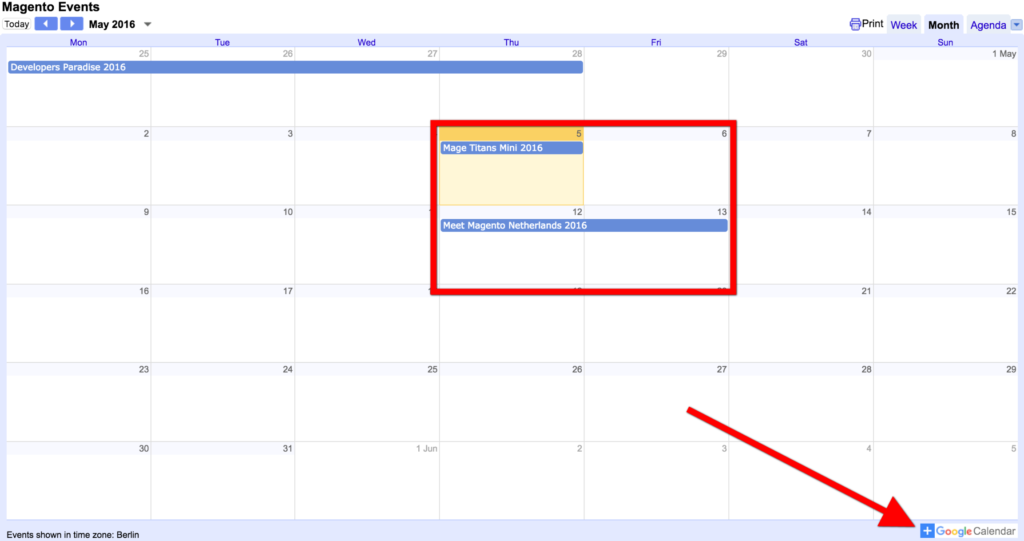 Magento Events Google Calendar